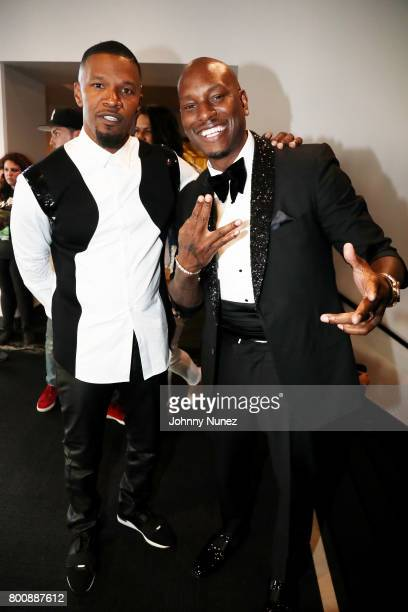 Jamie Foxx and Tyrese Gibson backstage at the 2017 BET Awards at Microsoft Theater on June 25 2017 in Los Angeles California