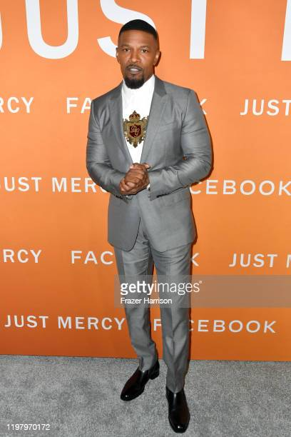 "Jamie Foxx attends the LA Community Screening of Warner Bros Pictures' ""Just Mercy"" at Cinemark Baldwin Hills on January 06, 2020 in Los Angeles,..."