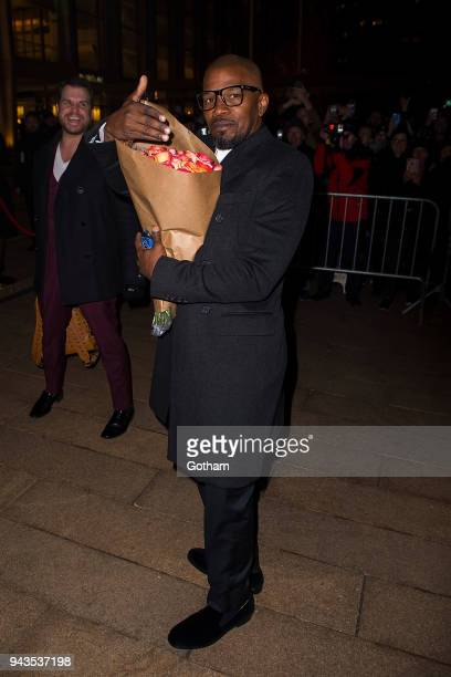 Jamie Foxx attends the Dolce Gabbana Alta Moda 2018 collection at the Metropolitan Opera House at Lincoln Center on April 8 2018 in New York City
