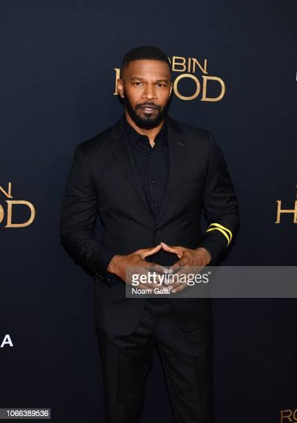Jamie Foxx attends the Robin Hood New York screening at AMC Lincoln Square Theater on November 11 2018 in New York City