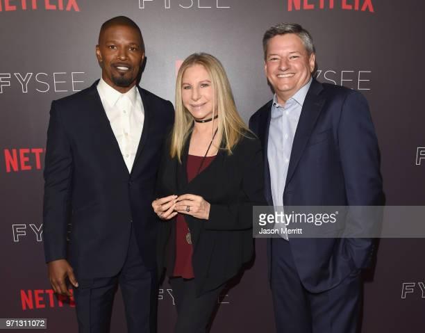 Jamie Foxx Barbra Streisand and Netflix CCO Ted Sarandos attend Barbra Streisand And Jamie Foxx In Conversation At Netflix's FYSEE at Raleigh Studios...