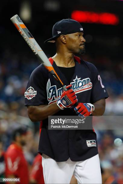 Jamie Foxx bats during the AllStar and Legends Celebrity Softball Game at Nationals Park on July 15 2018 in Washington DC