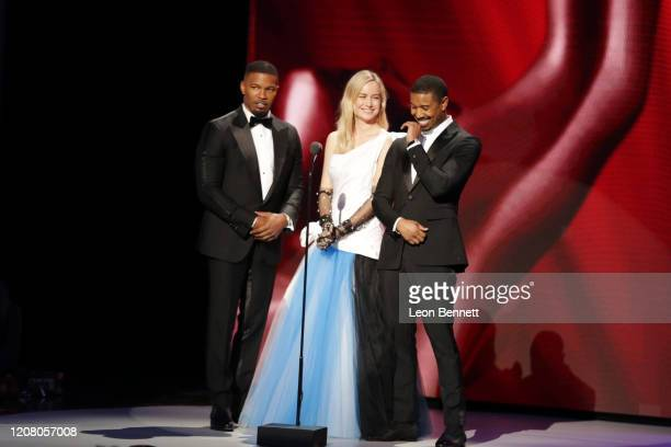 Jamie Foxx Brie Larson and Michael B Jordan speak onstage during the 51st NAACP Image Awards Presented by BET at Pasadena Civic Auditorium on...