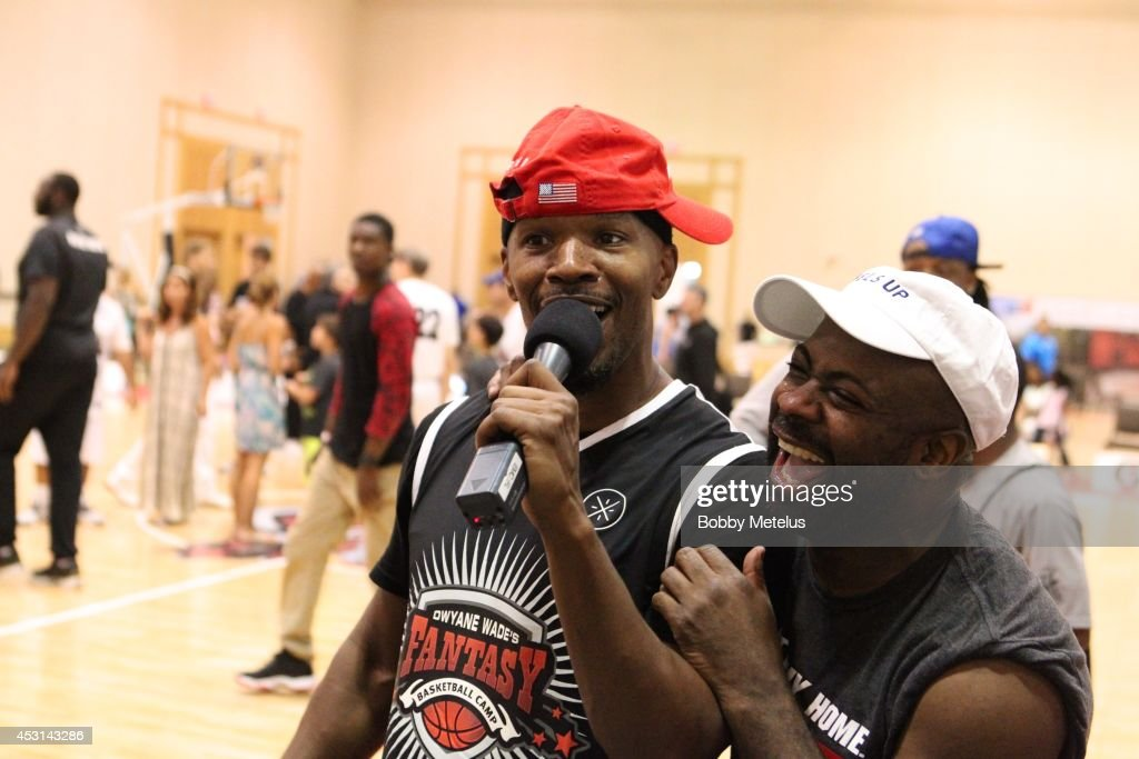 Jamie Foxx celebrates winning the championship at Dwyane Wade's Fourth Annual Fantasy Basketball Camp at Westin Diplomat on August 3, 2014 in Hollywood, Florida.