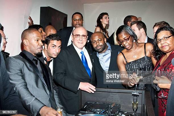 Jamie Foxx Clive Davis and Breyon Prescott attend L'Ermitage on January 29 2010 in Los Angeles California