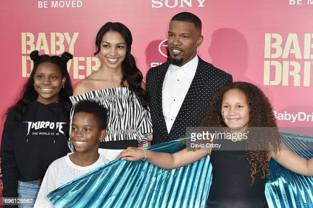 Jamie Foxx Corinne Foxx Annalise Bishop and Guests attend the Premiere Of Sony Pictures' Baby Driver Arrivals at Ace Hotel on June 14 2017 in Los...