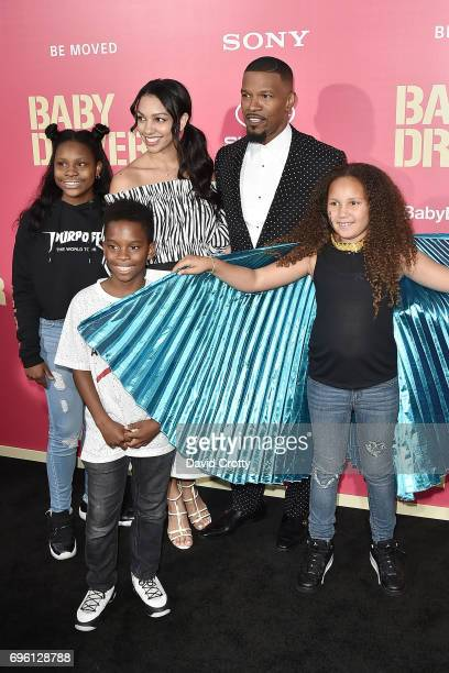 Jamie Foxx Corinne Foxx Annalise Bishop and Guests attend the Premiere Of Sony Pictures' 'Baby Driver' Arrivals at Ace Hotel on June 14 2017 in Los...