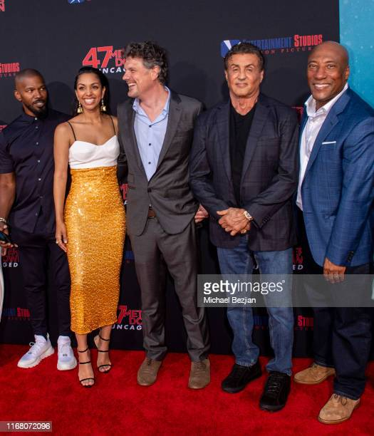 Jamie Foxx Corinne Foxx Johannes Roberts Sylvester Stallone and Byron Allen attend the LA Premiere of 47 Meters Down UNCAGED on August 13 2019 in Los...