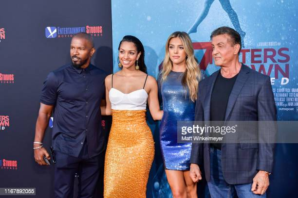 Jamie Foxx Corinne Foxx Sistine Rose Stallone and Sylvester Stallone attends the LA Premiere of Entertainment Studios' 47 Meters Down Uncaged at...