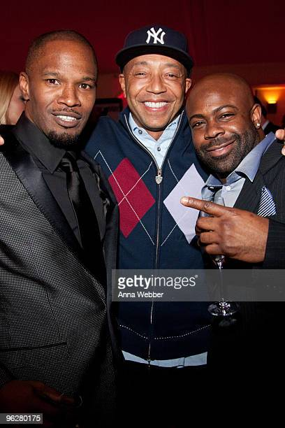 Jamie Foxx Def Jam coowner Russell Simmons and Breyon Prescott attend L'Ermitage on January 29 2010 in Los Angeles California