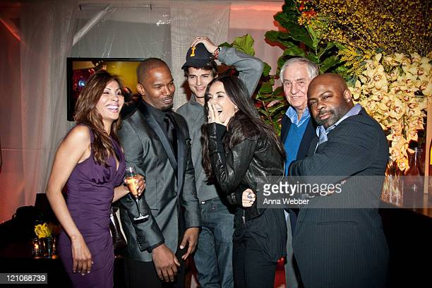 Jamie Foxx Demi Moore Ashton Kutcher Gary Marshall Breyon Prescott and guest at L'Ermitage on January 29 2010 in Los Angeles California