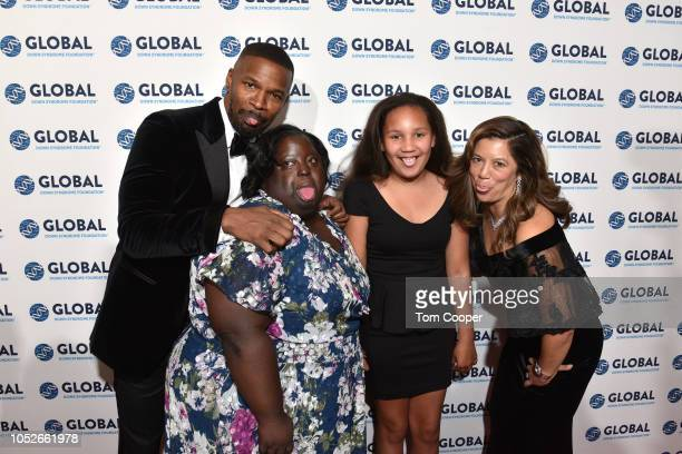 Jamie Foxx DeOndra Dixon Analise Foxx and Michelle Sie Whitten on the red carpet at the Global Down Syndrome 10th anniversary BBBY fashion show at...