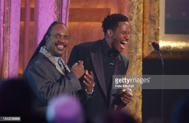 Jamie Foxx host of the BET Walk of Fame show Honoring Stevie Wonder with Stevie Wonder