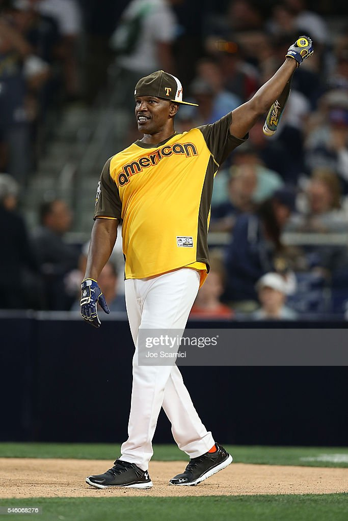 Jamie Foxx in action during the MLB 2016 All-Star Legends and Celebrity Softball Game at PETCO Park on July 10, 2016 in San Diego, California.