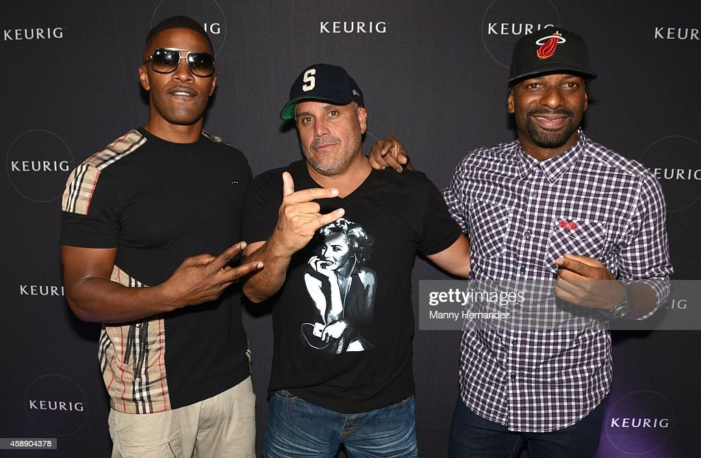 Jamie Foxx, Leonardo Hidalgo and DJ Irie hosts event at Lou La Vie on November 8, 2014 in Miami, Florida.