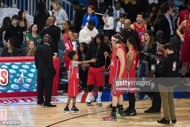 Jamie Foxx of Team Clippers speaks with teammate Miles Brown during the 2018 NBA AllStar Celebrity Game as part of AllStar Weekend at the Los Angeles...