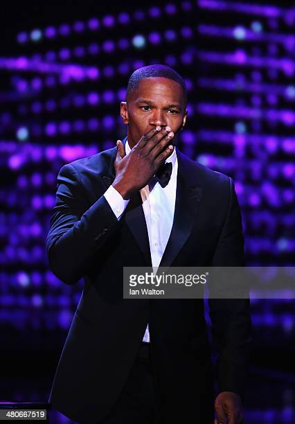 Jamie Foxx on stage during the 2014 Laureus World Sports Award show at the Istana Budaya Theatre on March 26 2014 in Kuala Lumpur Malaysia