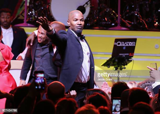 Jamie Foxx performs during Byron Allen's Oscar Gala Viewing Party to Support The Children's Hospital Los Angeles at the Beverly Wilshire Four Seasons...