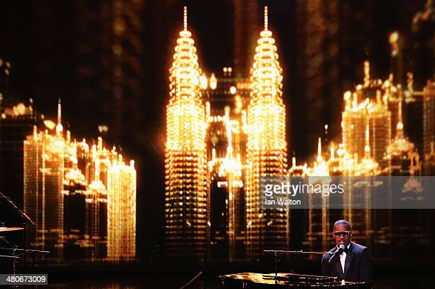 Jamie Foxx performs on stage during the 2014 Laureus World Sports Award show at the Istana Budaya Theatre on March 26 2014 in Kuala Lumpur Malaysia