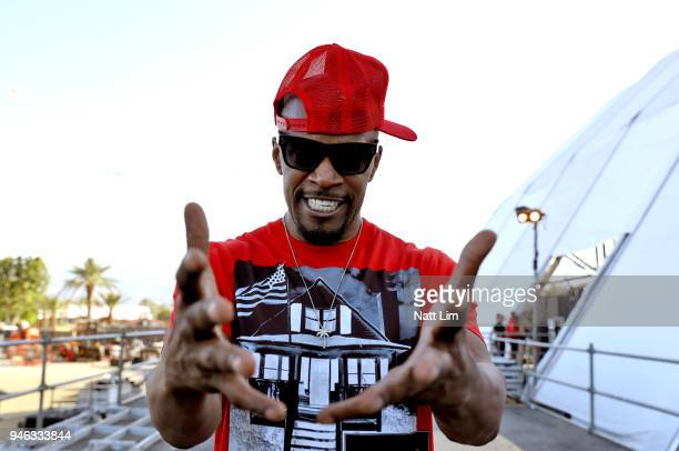Jamie Foxx poses backstage during 2018 Coachella Valley Music And Arts Festival Weekend 1 at the Empire Polo Field on April 14 2018 in Indio...