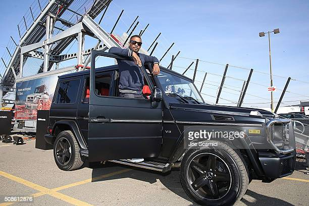 Jamie Foxx poses for a photo in the Special Edition MercedesBenz G550 In Celebration Of Super Bowl 50 on February 5 2016 in San Francisco California
