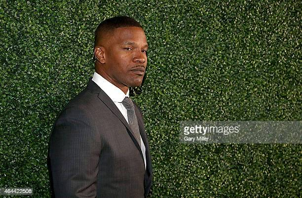 Jamie Foxx poses on the red carpet for the Texas Medal of Arts Awards at the Long Center on February 25 2015 in Austin Texas