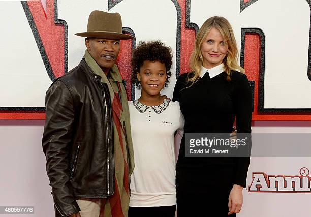 Jamie Foxx Quvenzhane Wallis and Cameron Diaz attend a photocall for Annie at Corinthia Hotel London on December 16 2014 in London England