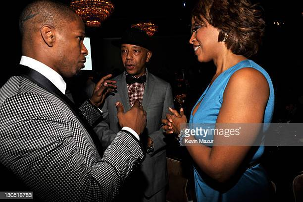 Jamie Foxx Russell Simmons and Gayle King at the 52nd Annual GRAMMY Awards Salute To Icons Honoring Doug Morris held at The Beverly Hilton Hotel on...