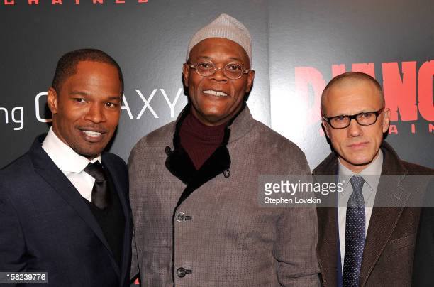 Jamie Foxx Samuel L Jackson and Christoph Waltz attend a screening of Django Unchained hosted by The Weinstein Company with The Hollywood Reporter...