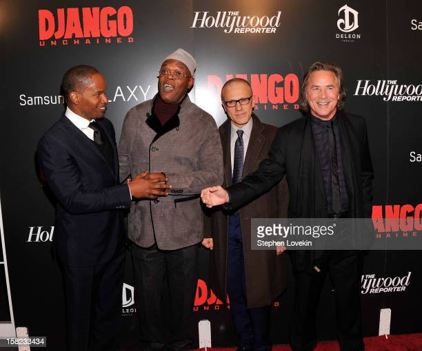 Jamie Foxx Samuel L Jackson Christoph Waltz and Don Johnson attend a screening of 'Django Unchained' hosted by The Weinstein Company with The...