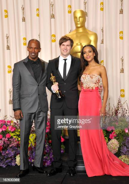 Jamie Foxx, Shawn Christensen and Kerry Washington arrive to the 85th Annual Academy Awards Press Room held at Hollywood & Highland Center on...