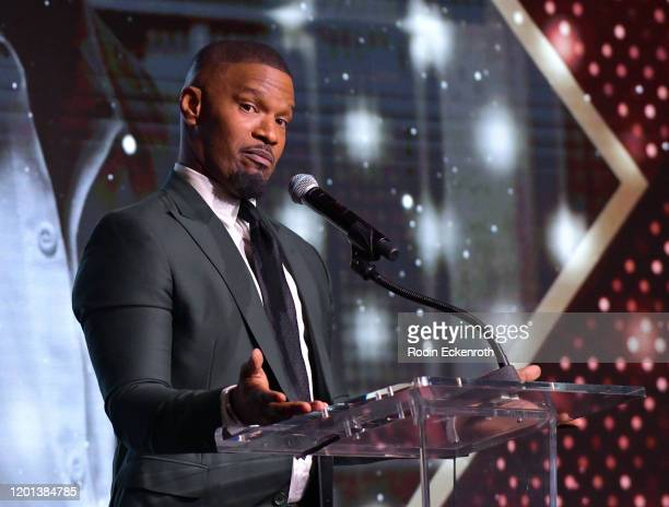 Jamie Foxx speaks at The African American Film Critics Association's 11th Annual AAFCA Awards at Taglyan Cultural Complex on January 22, 2020 in...