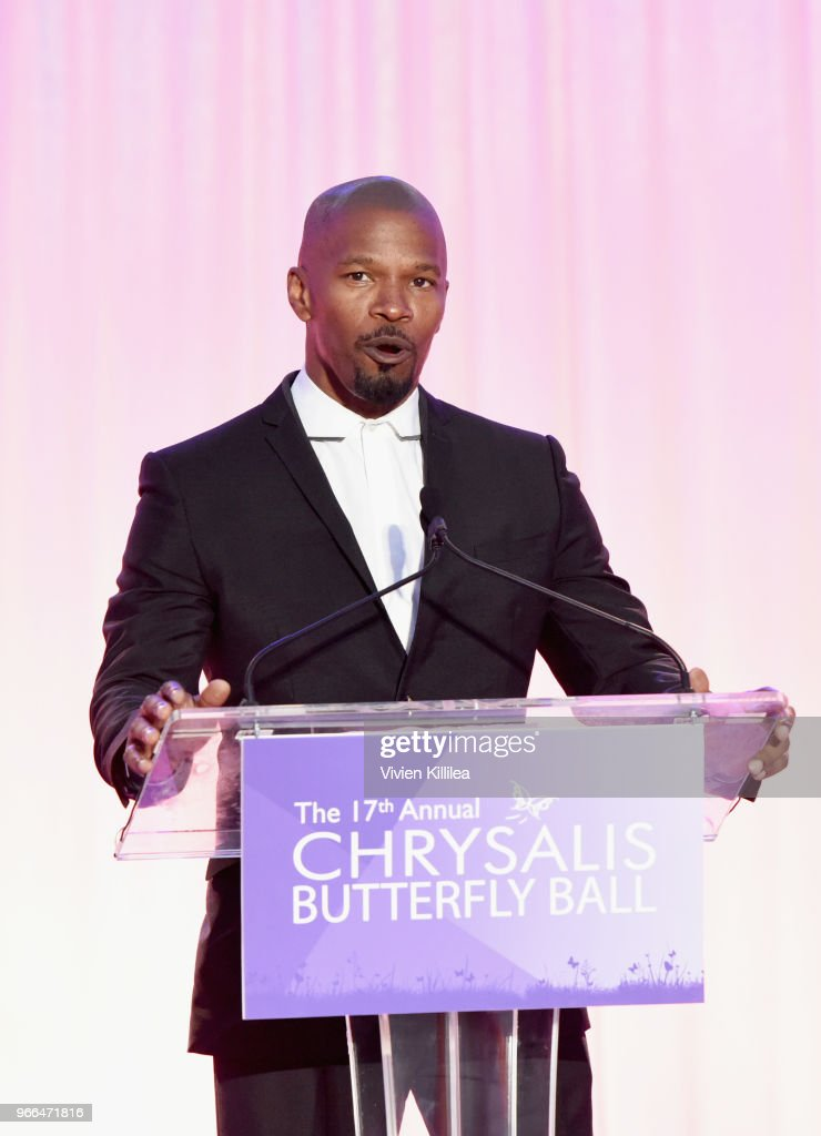 Jamie Foxx speaks onstage at the 17th Annual Chrysalis Butterfly Ball sponsored by Kayne Anderson Capital Advisors Foundation on June 2, 2018.