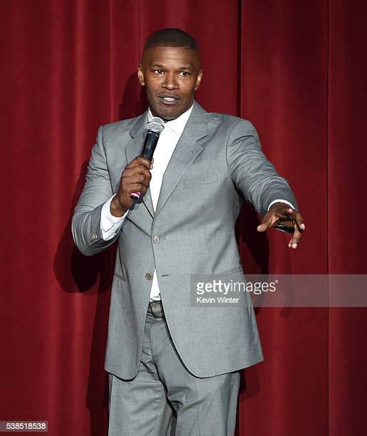 Jamie Foxx speaks onstage during the 'Hillary Clinton She's With Us' concert at The Greek Theatre on June 6 2016 in Los Angeles California