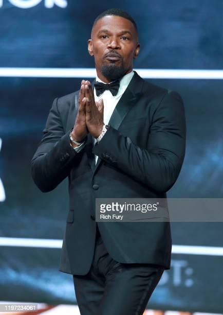 Jamie Foxx winner of the Spotlight Award speaks onstage during the 31st Annual Palm Springs International Film Festival Film Awards Gala at Palm...