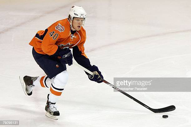 Jamie Fraser of the Bridgeport Sound Tigers skates with the puck during the first period against the Philadelphia Phantoms on January 23, 2008 at the...