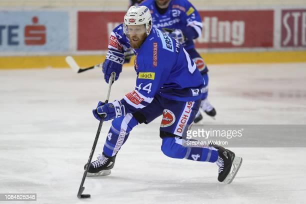 Jamie Fraser of Villach during the Vienna Capitals v EC VSV Erste Bank Eishockey Liga at Erste Bank Arena on January 18 2019 in Vienna Austria