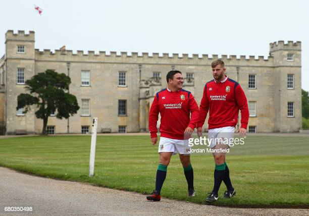 Jamie George and George Kruis in discussion during a British and Irish Lions photo call at London Syon Park Hotel on May 8 2017 in London England