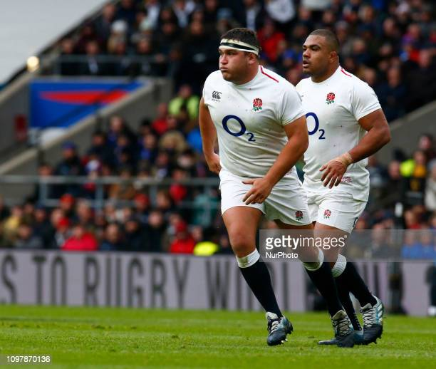 LR Jamie George of England and Kyle Sinckler of England During Guiness 6 Nations Rugby match between England and France at Twickenham Stadium on...