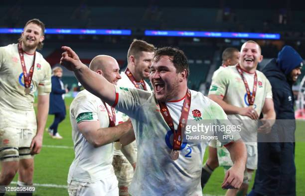 Jamie George of England celebrates after their victory in extra time of the Autumn Nations Cup Final and Quilter International match between England...