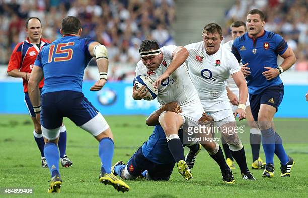 Jamie George of England charges upfield during the International match between France and England at Stade de France on August 22 2015 in Paris France