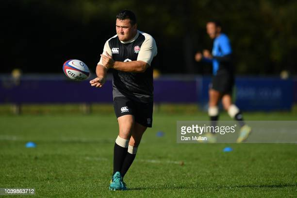 Jamie George of England releases a pass during a training session at Clifton Rugby Club on September 25 2018 in Bristol England