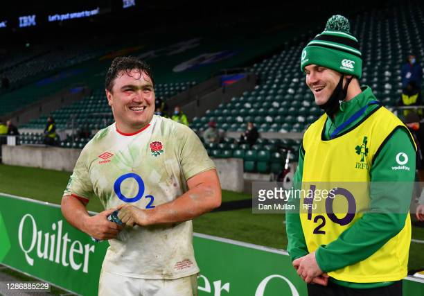 Jamie George of England talks with Johnny Sexton of Ireland after the England v Ireland Quilter International match, part of the Autumn Nations Cup...