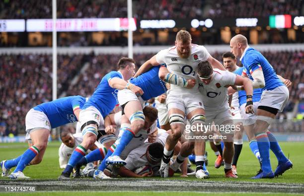 Jamie George of England touches down to score their first try during the Guinness Six Nations match between England and Italy at Twickenham Stadium...