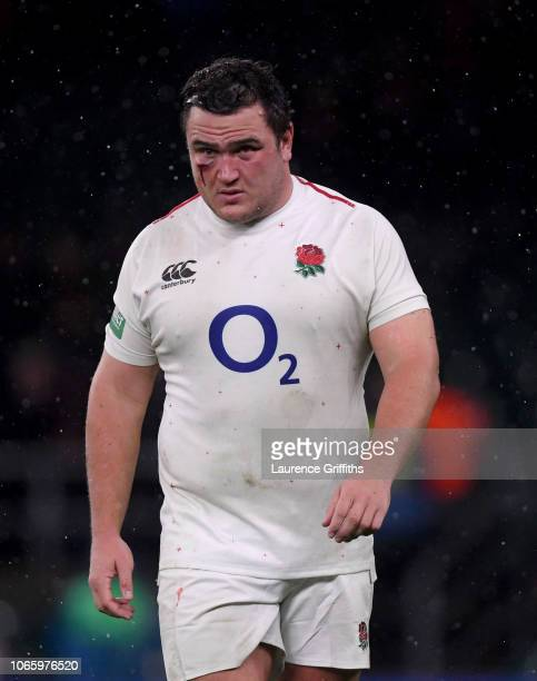 Jamie George of England walks from the field of play after defeat in the Quilter International match between England and New Zealand at Twickenham...
