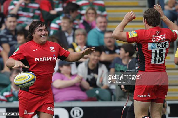 Jamie George of Saracens celebrates after he goes over for a try during the AVIVA Premiership match between Leicester Tigers and Saracens at Welford...