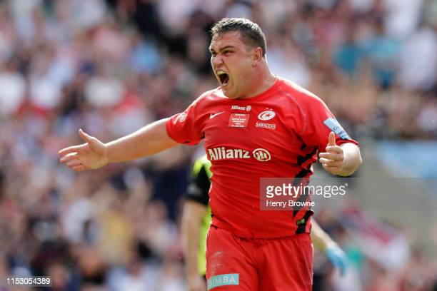 Jamie George of Saracens celebrates after scoring his team's fifth try during the Gallagher Premiership Rugby Final between Exeter Chiefs and...