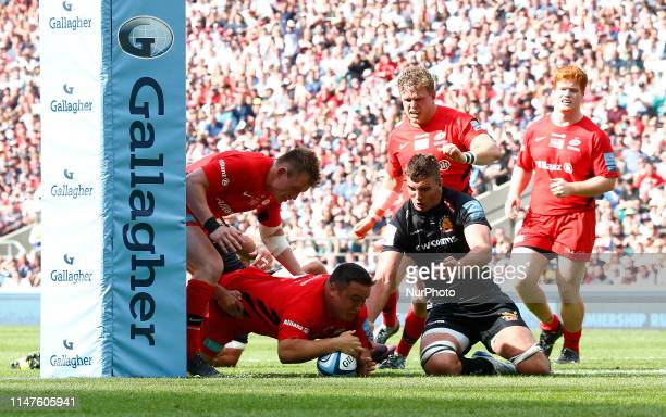 Jamie George of Saracens goes over for the winning Try during Gallagher Premiership Rugby Final between Exeter Chiefs and Saracens at Twickenham...
