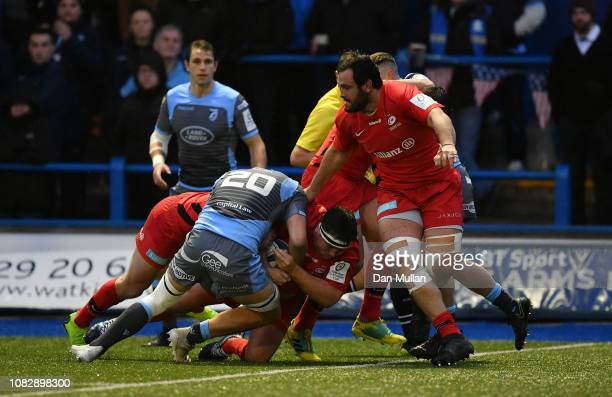 Jamie George of Saracens goes over to score the winning try during the Champions Cup match between Cardiff Blues and Saracens at Cardiff Arms Park on...
