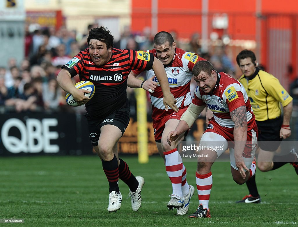 Jamie George of Saracens makes a break during the Aviva Premiership match between Gloucester and Saracens at Kingsholm Stadium on April 20, 2013 in Gloucester, England.